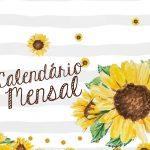 Planner para Professor Tema Girassol Capa Calendario Mensal