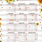 Calendario Professor 2021 Girassol