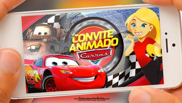 Convite Animado Carros Gratis para baixar e editar