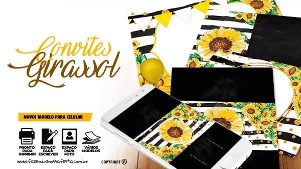 Convite Festa Girassol para imprimir
