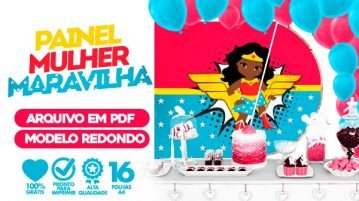Painel Festa Mulher Maravilha Cute Afro
