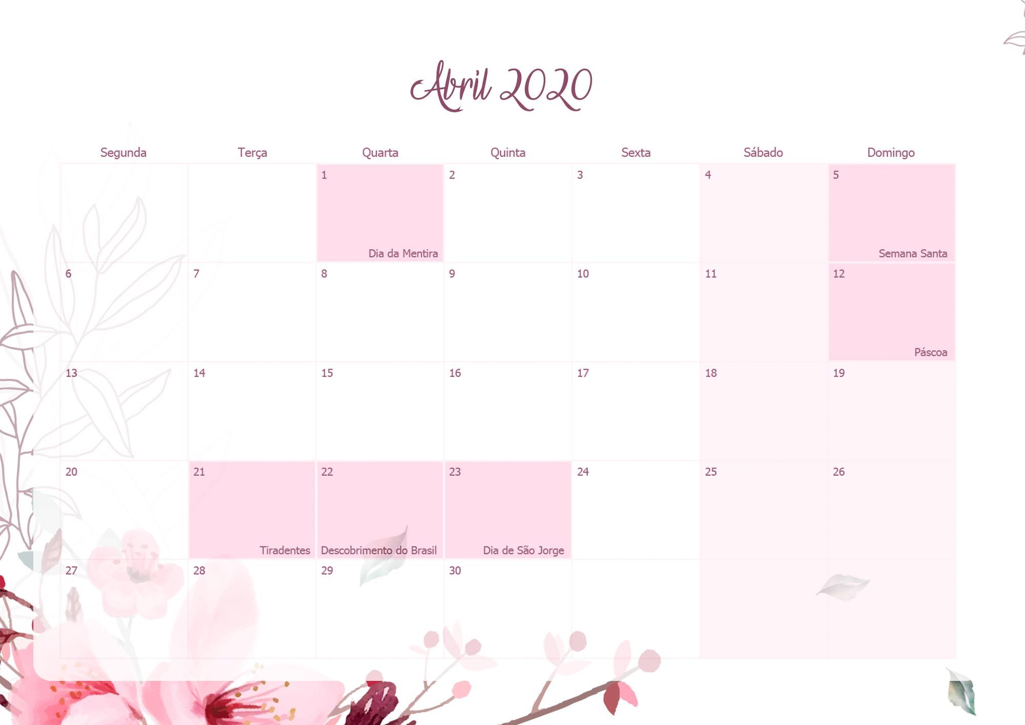 Planner Mensal Floral para Professores Abril