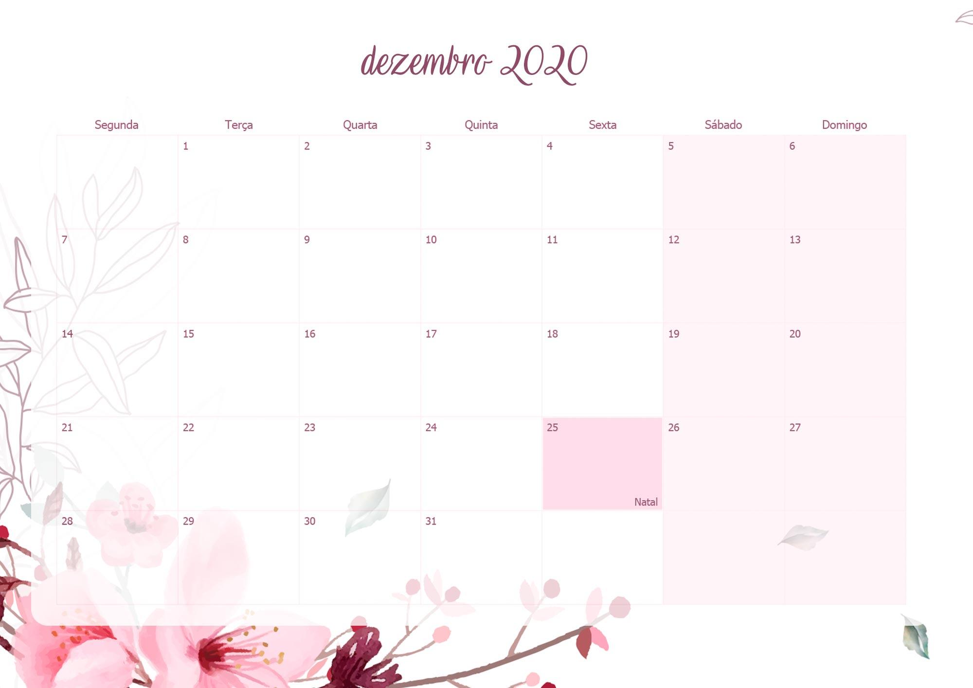 Planner Mensal Floral para Professores Dezembro