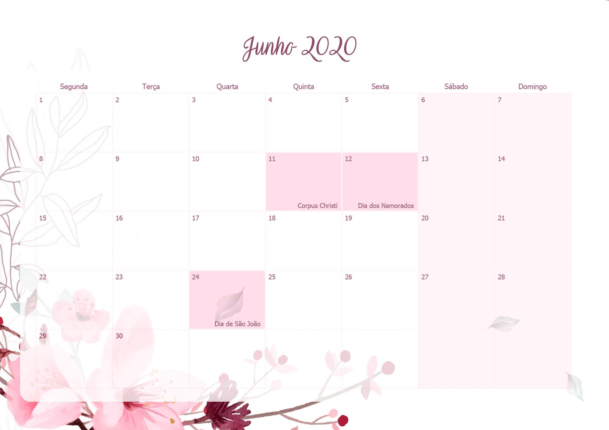 Planner Mensal Floral para Professores Junho