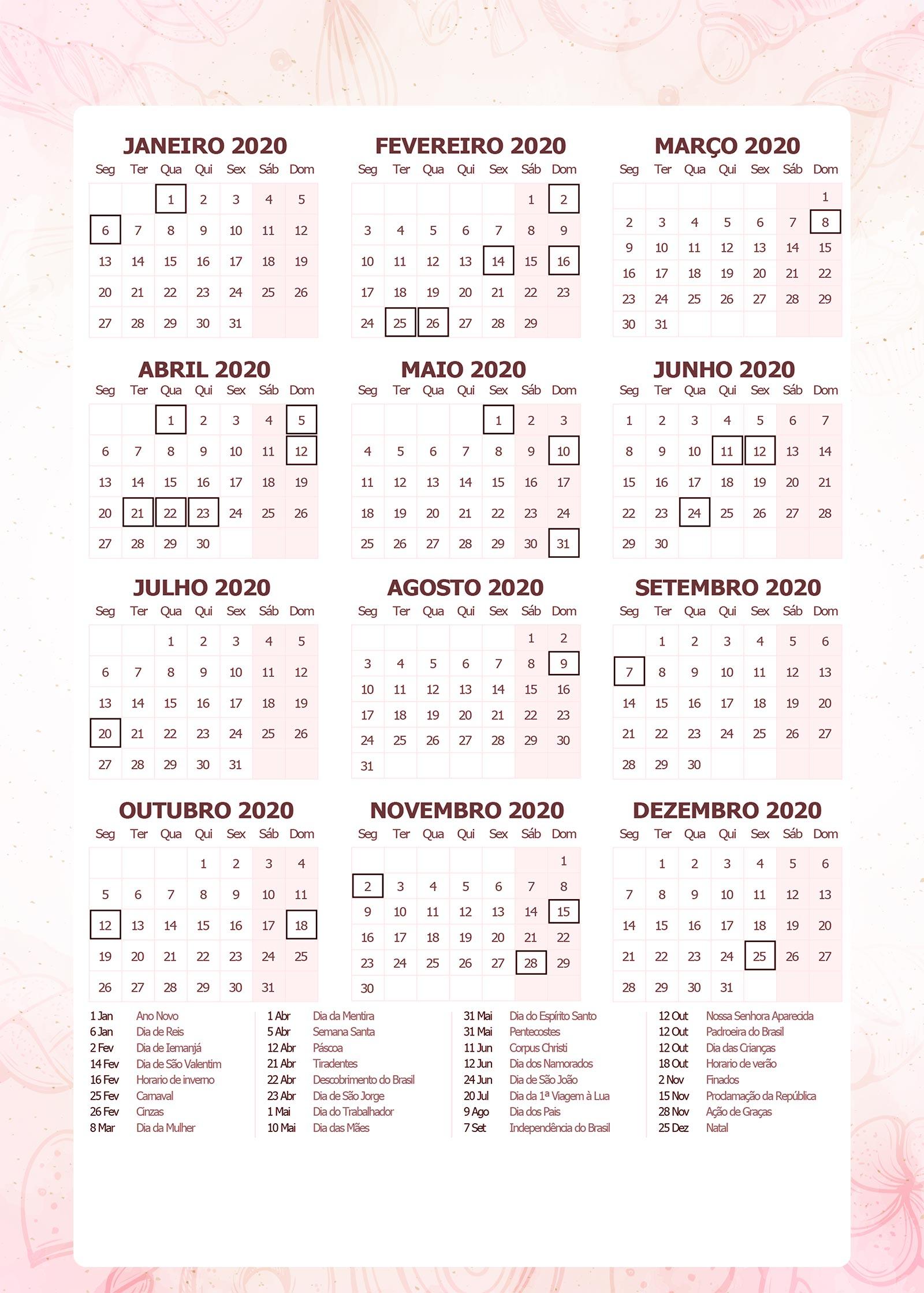 Planner da Confeiteira 2020 calendario