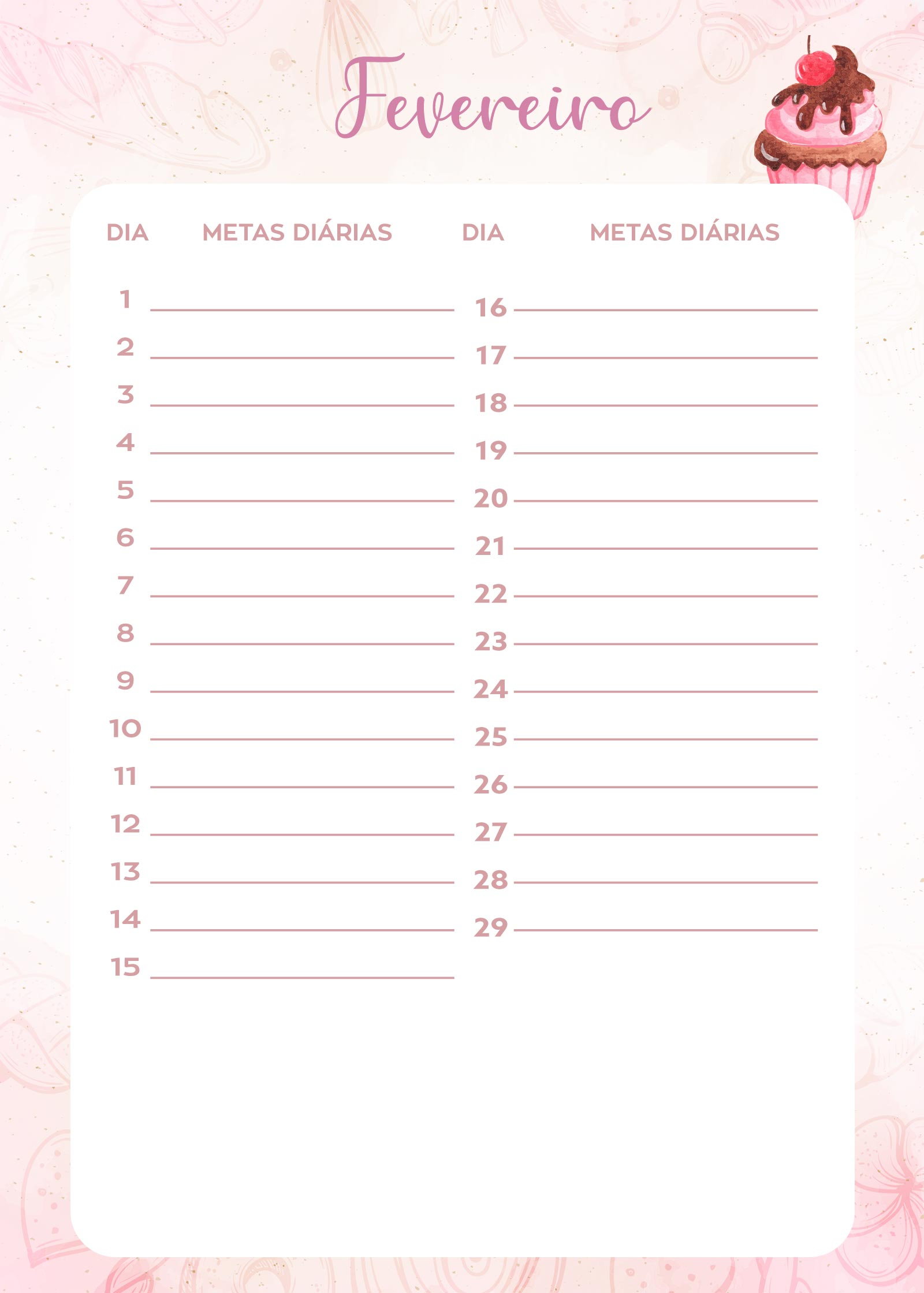 Planner da Confeiteira metas fevereiro