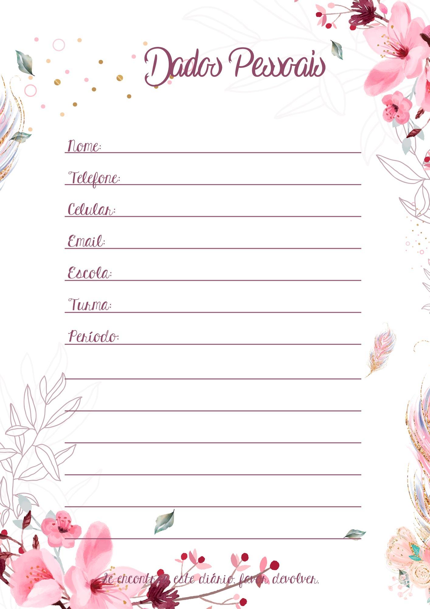 Planner para Professores Floral Dados Pessoais