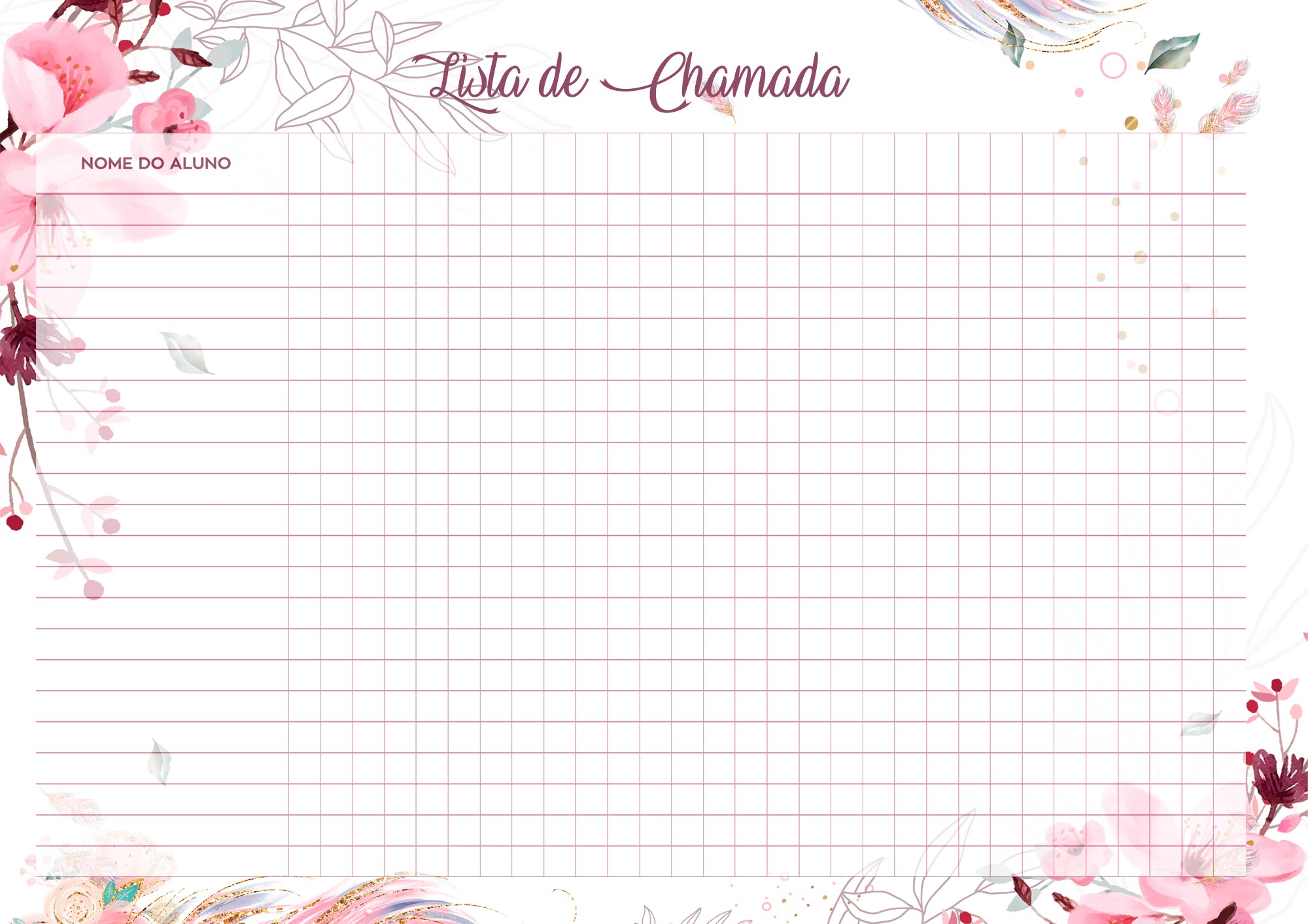 Planner para Professores Floral Lista de Chamada