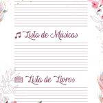 Planner para Professores Floral Lista de Filmes Musicas Livros