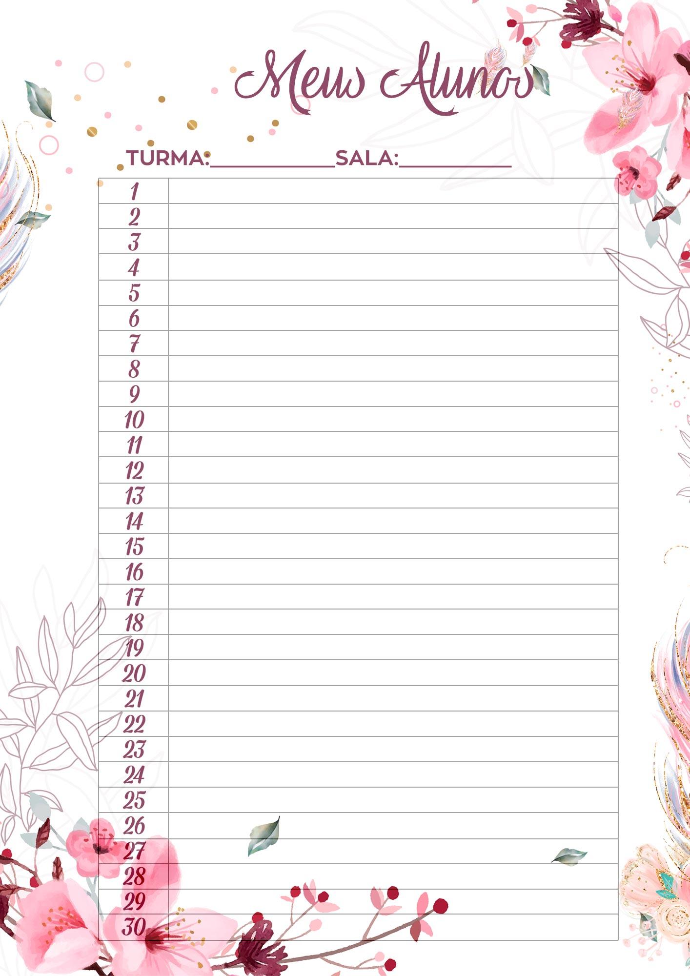 Planner para Professores Floral Meus Alunos