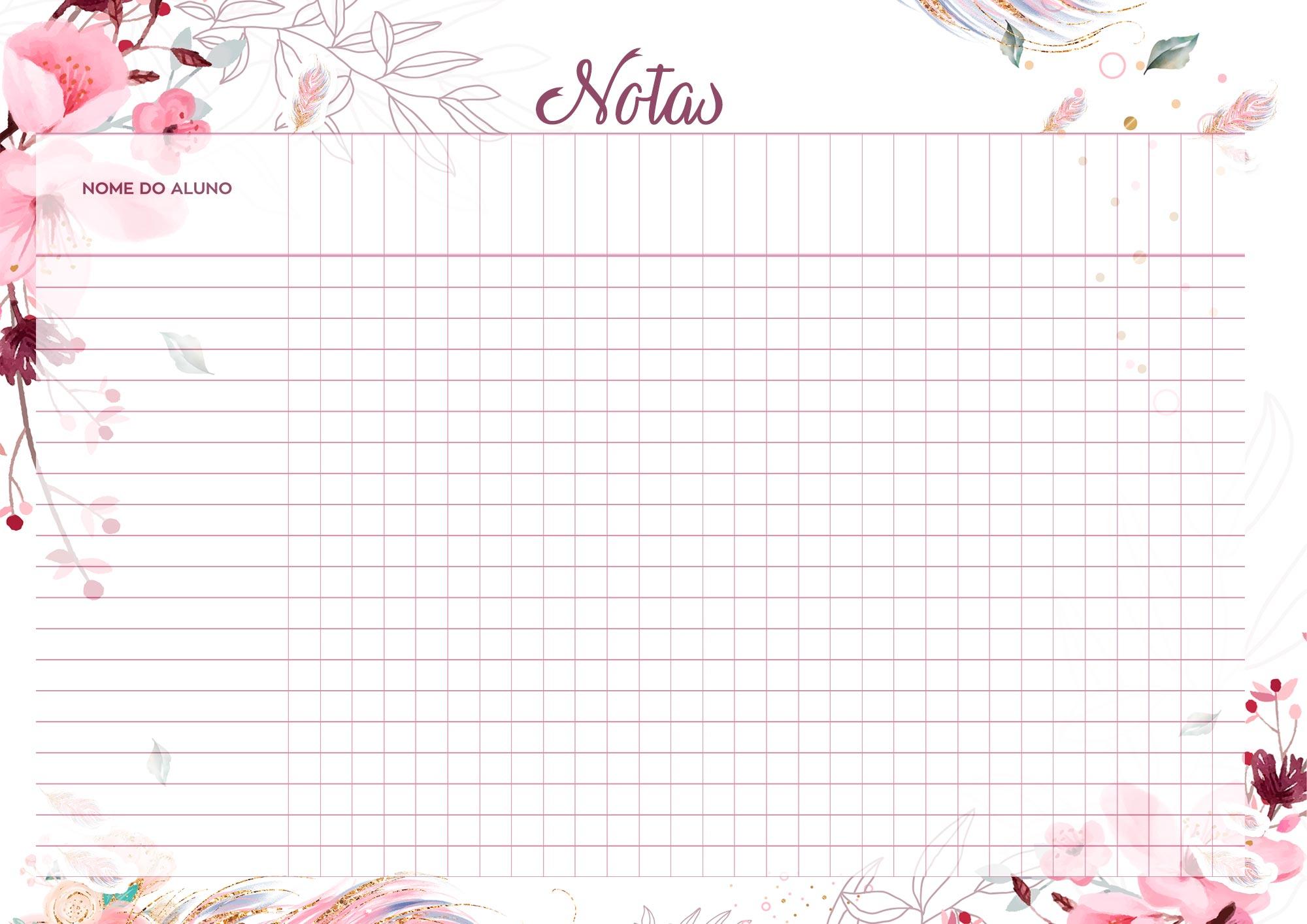 Planner para Professores Floral Notas
