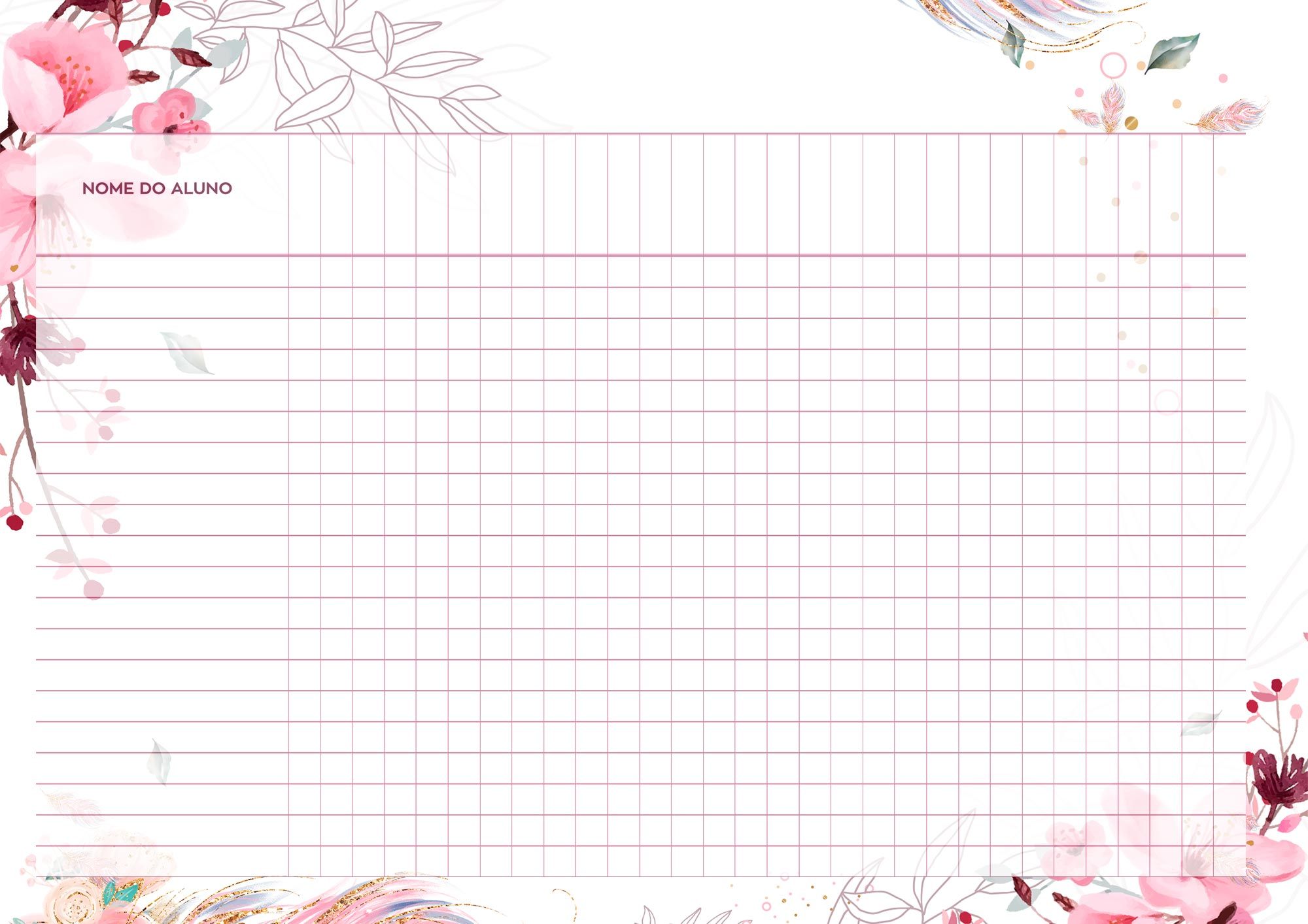 Planner para Professores Floral Tabela em Branco