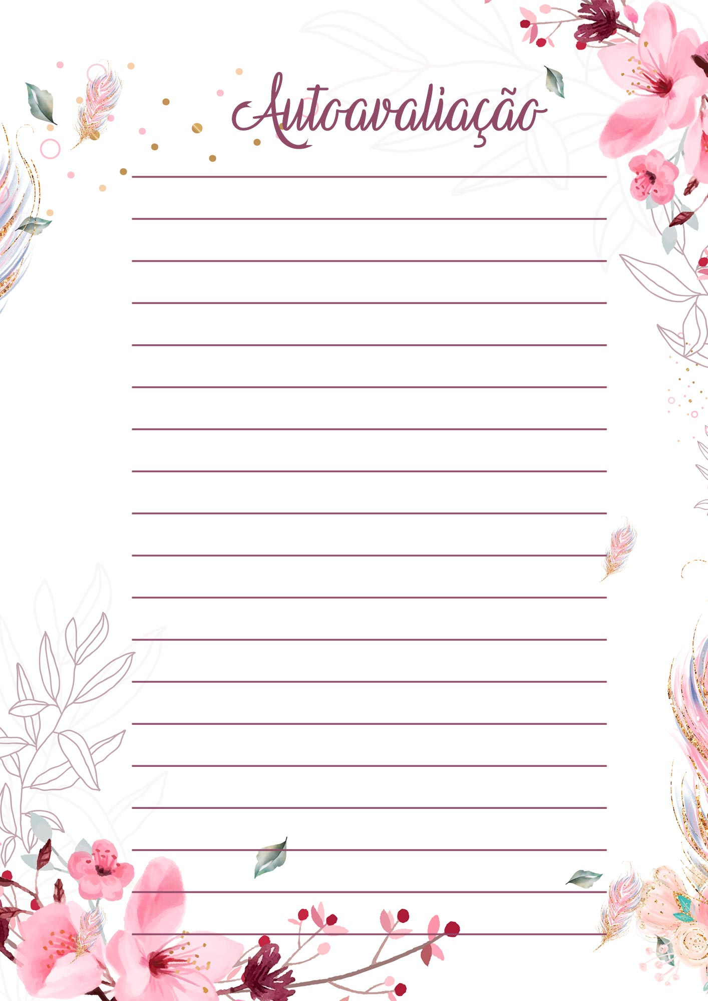 Planner para Professores Tema Floral Autoavaliacao