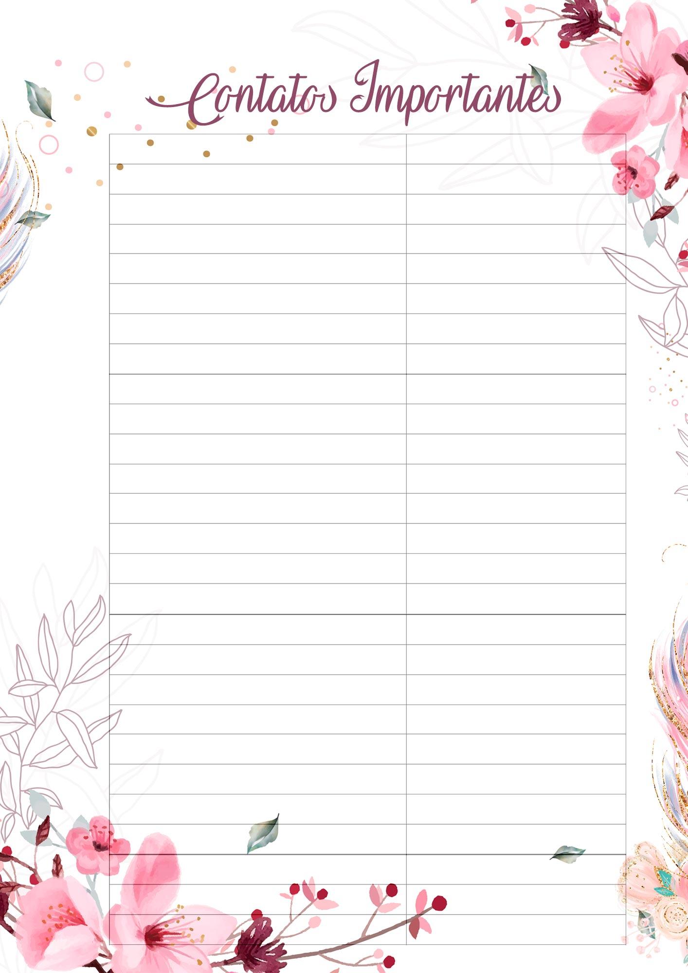 Planner para Professores Tema Floral Contatos Importantes