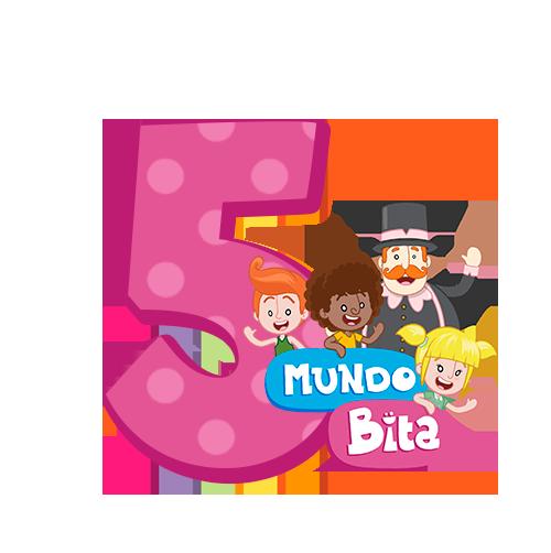 5 com personagem Mundo Bita Rosa
