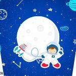 Adesivo Balde de Pipoca Kit Festa Astronauta
