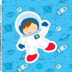 Adesivo Caixa Acrilica Kit Festa Astronauta Cute