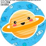Adesivo para garrafinha Kit Festa Astronauta Cute