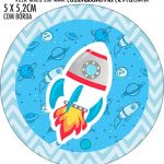 Adesivo redondo personalizado Astronauta Cute