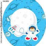 Rotulo Oval Astronauta Cute