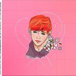 rotulo adesivo caixa de acrilico BTS Anime