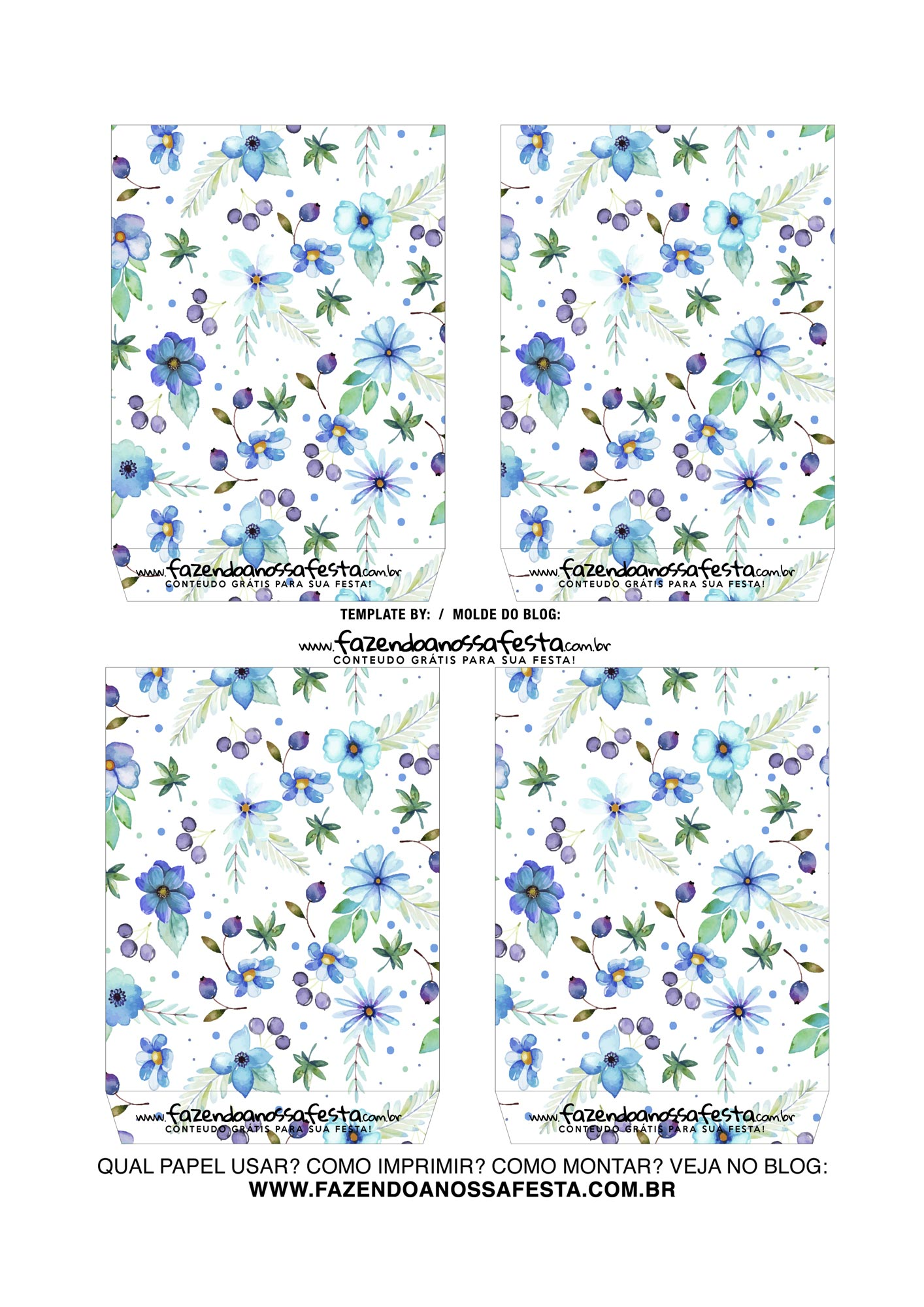 Caixa Explosiva Dia das Maes Floral Azul 4