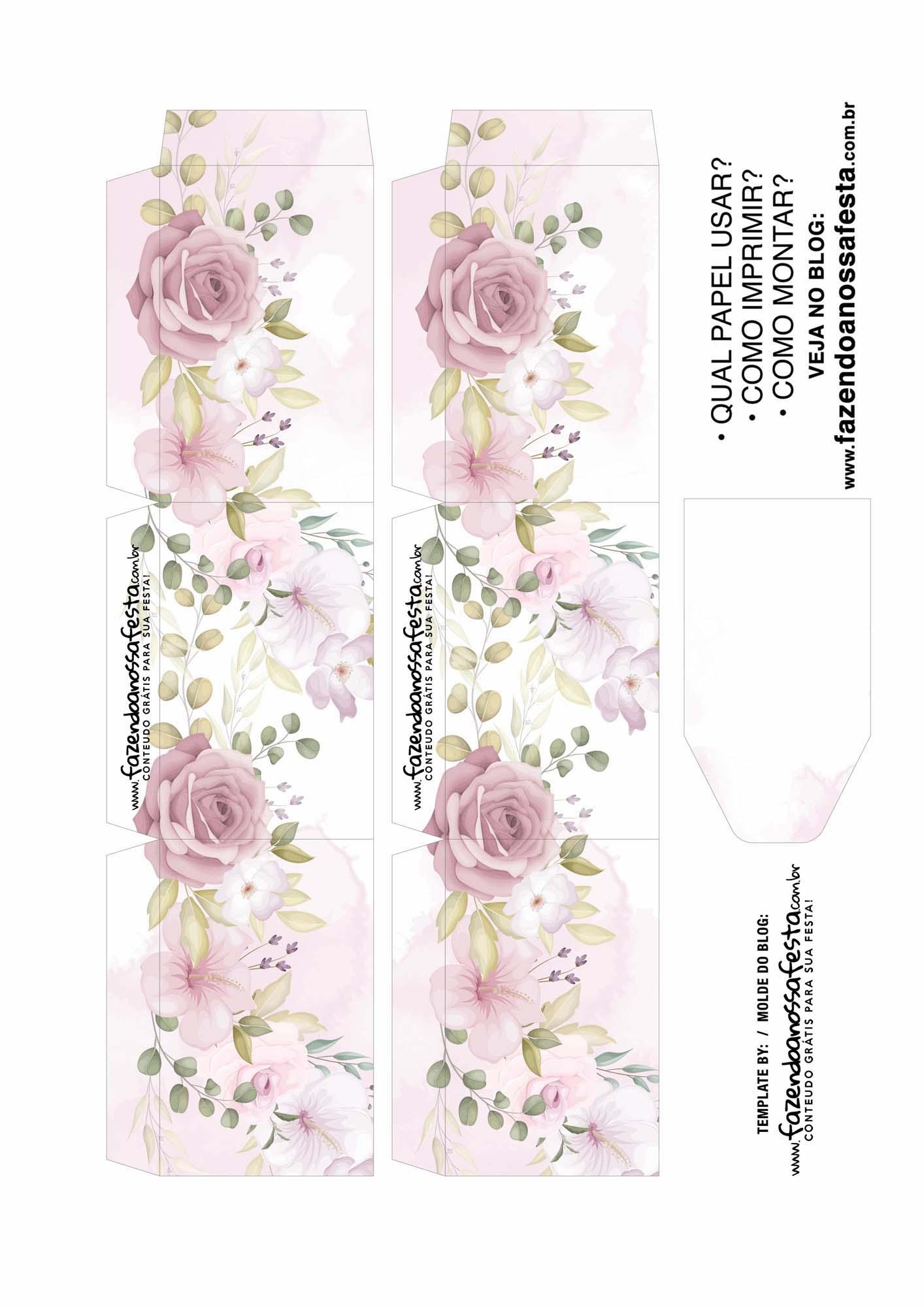 Caixa Explosiva Dia das Maes Floral Rosa Aquarela 2