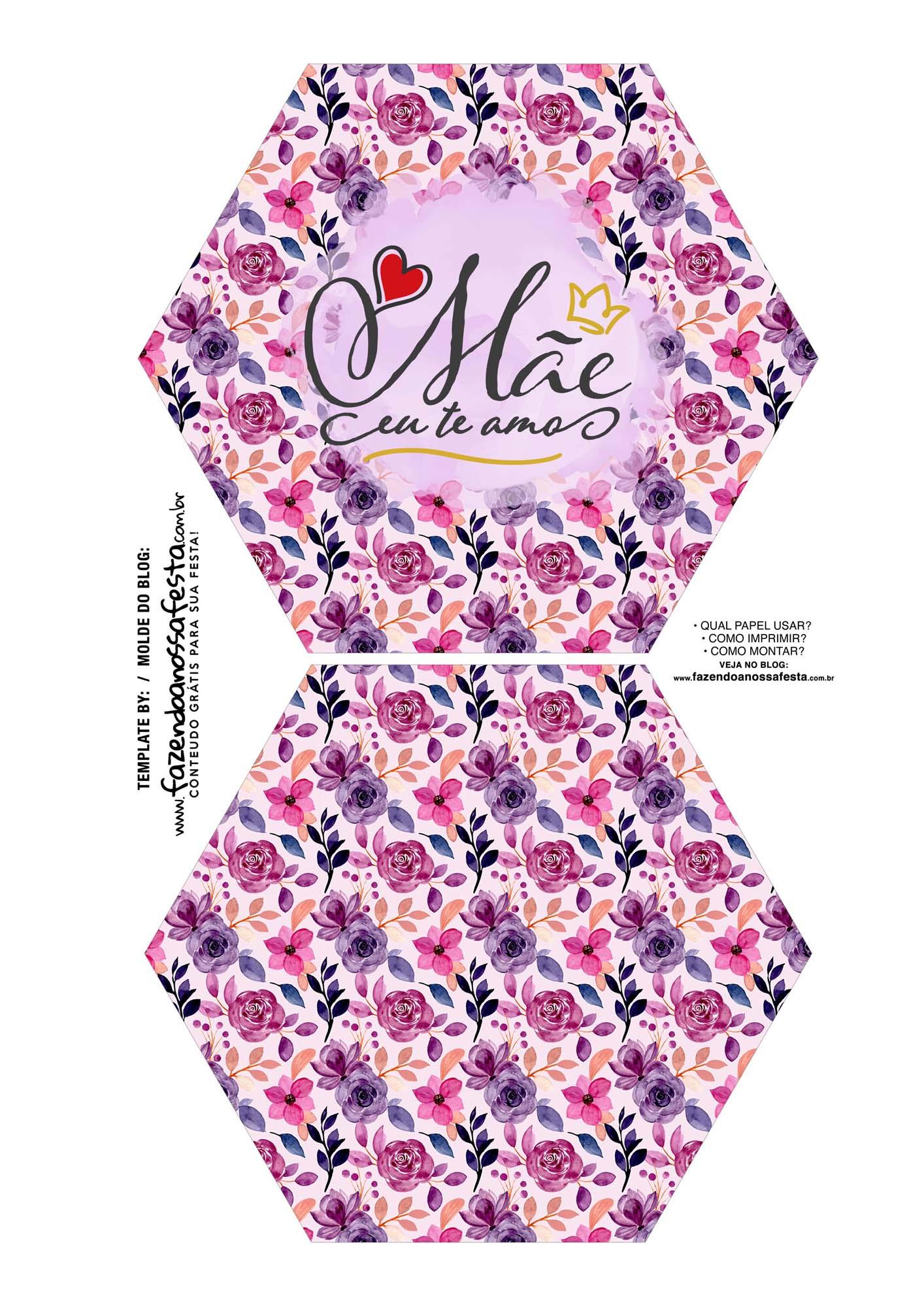 Caixa Explosiva Dia das Maes floral rosa e roxo 1