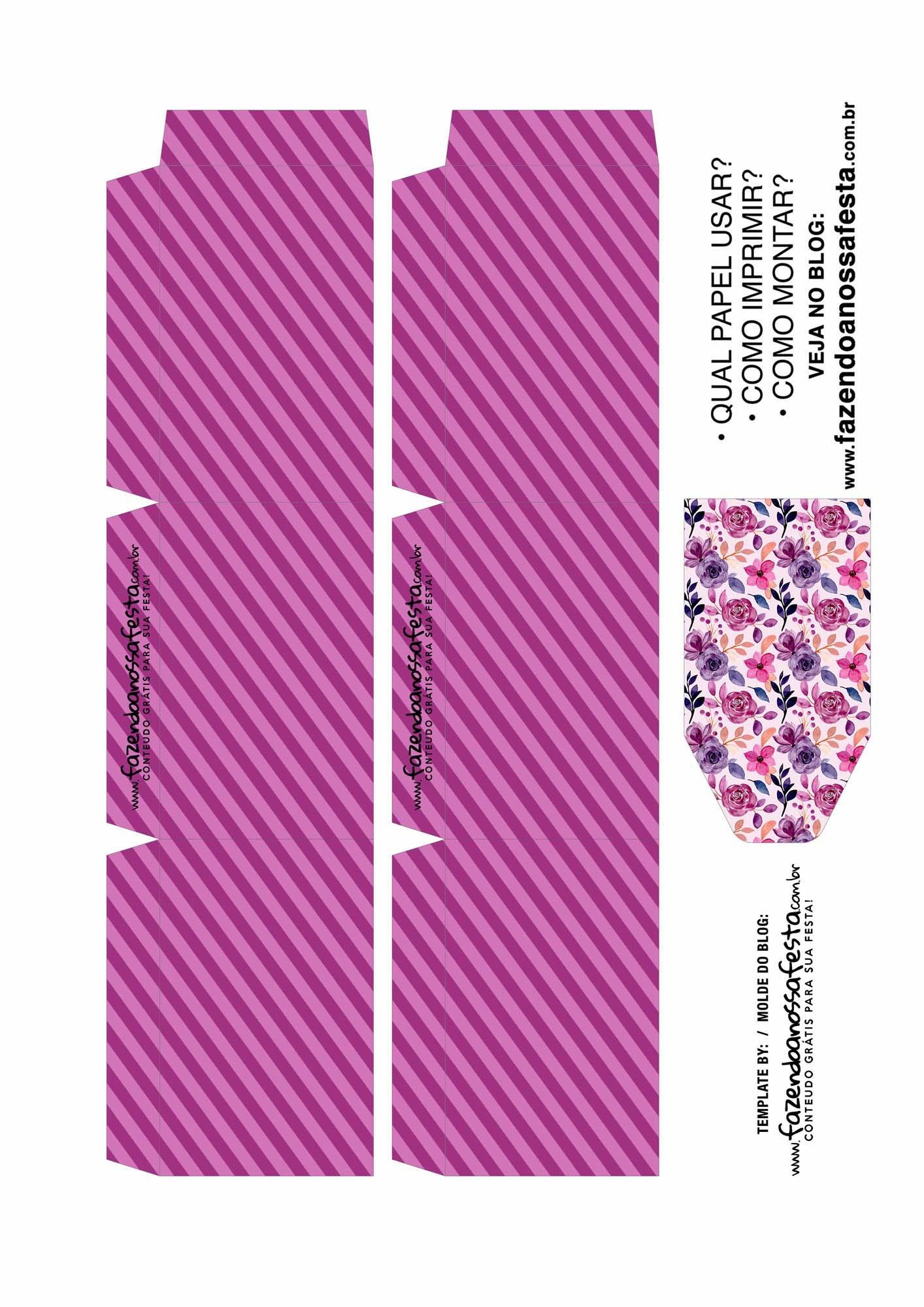 Caixa Explosiva Dia das Maes floral rosa e roxo 2