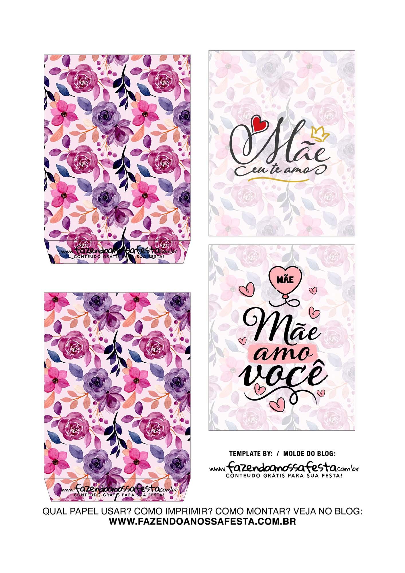 Caixa Explosiva Dia das Maes floral rosa e roxo 3