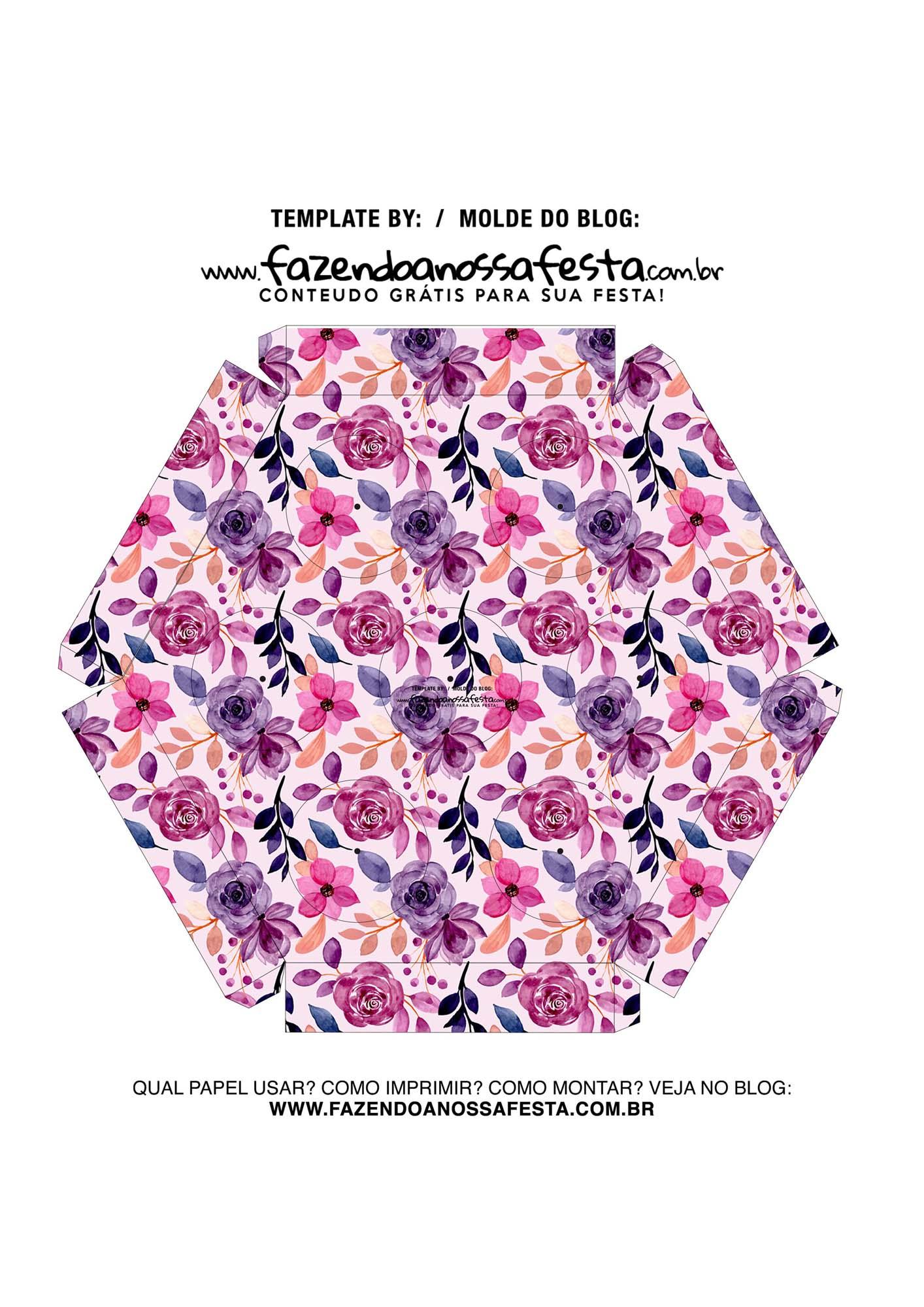 Caixa Explosiva Dia das Maes floral rosa e roxo 6