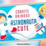 Convite Animado Astronauta Cute Gratis