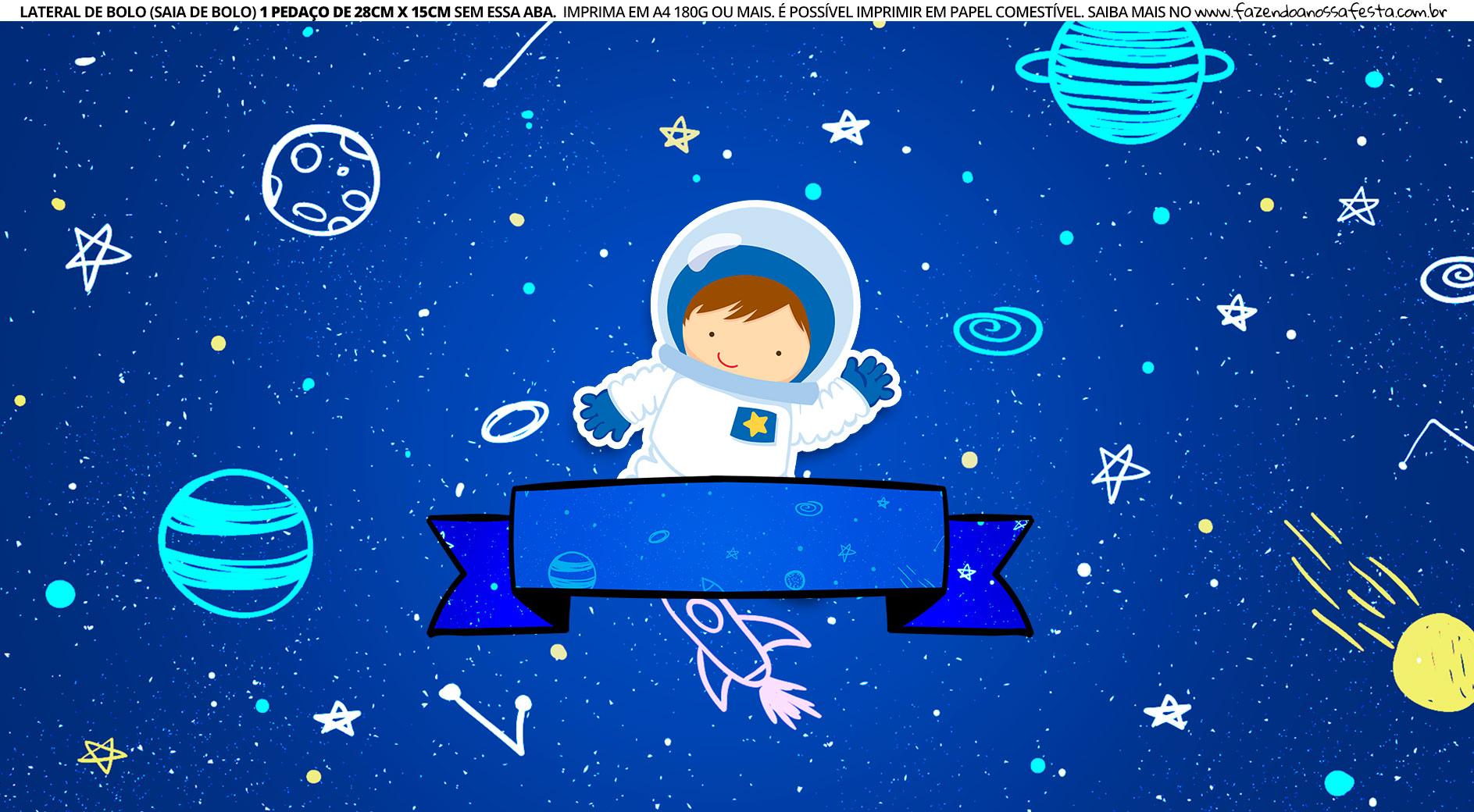 Faixa Lateral de Bolo Astronauta