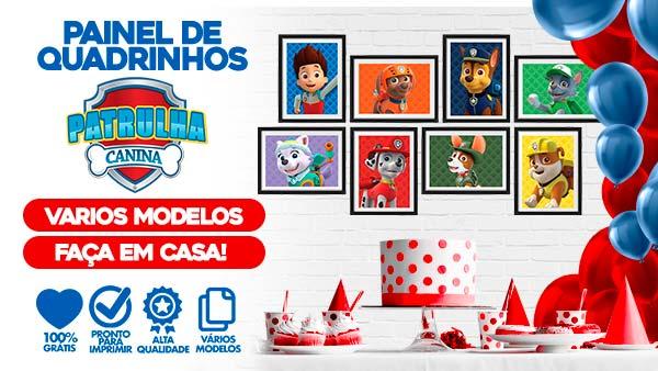 Kit Quadrinhos Festa Patrulha Canina para imprimir gratis