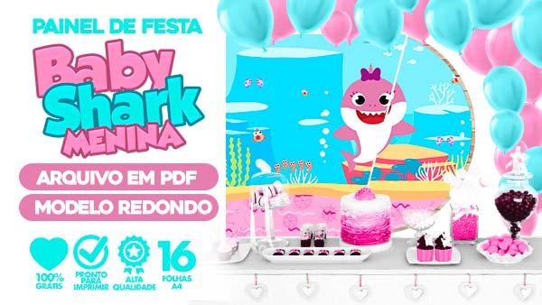 Painel Festa Baby Shark Rosa