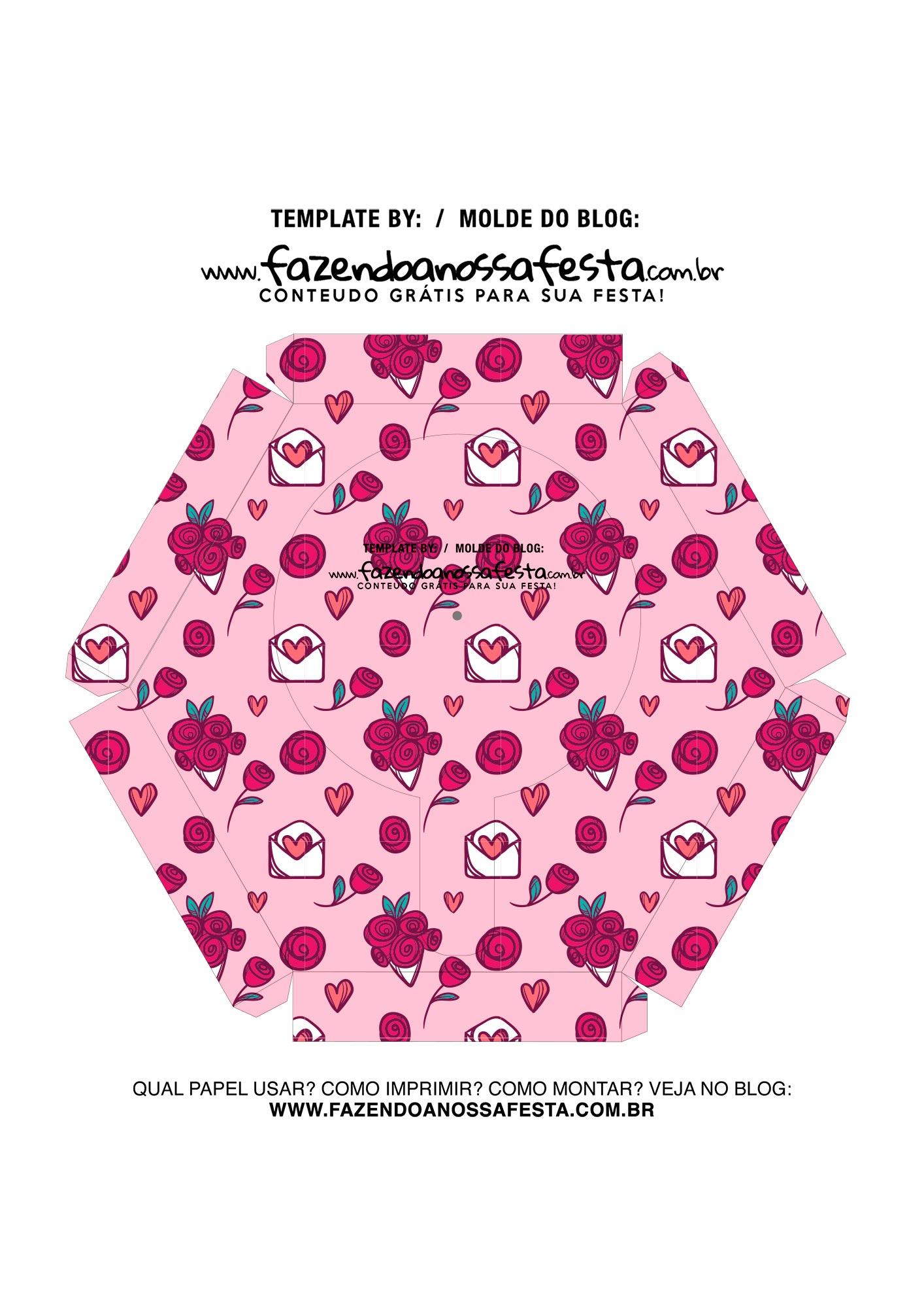 Caixa Explosiva Dia dos Namorados Rosa Coracoes 7