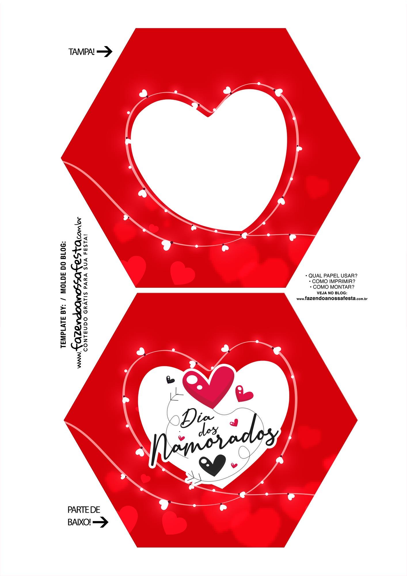 Caixa Explosiva Dia dos Namorados Vermelha Coracao em branco