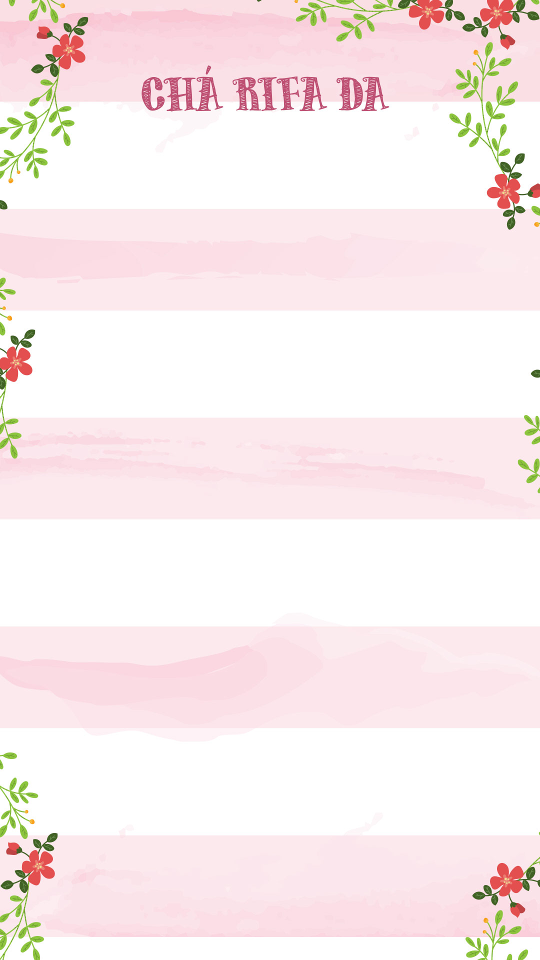 Cartela Rifa Floral