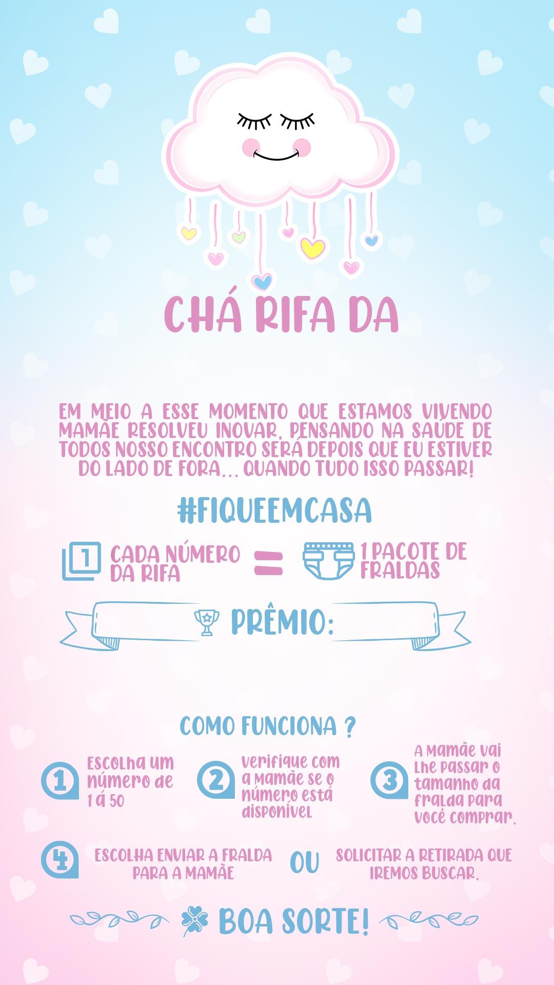 Convite Chá Rifa Chuva de amor menina