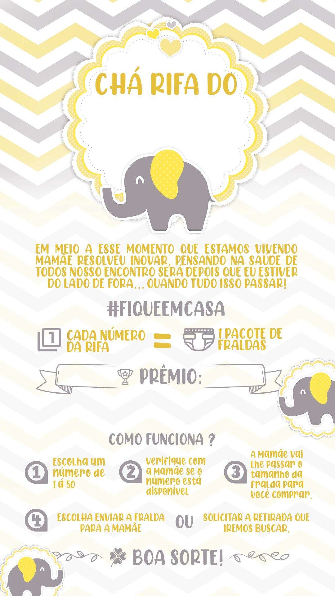 Convite Cha Rifa Elefantinho amarelo