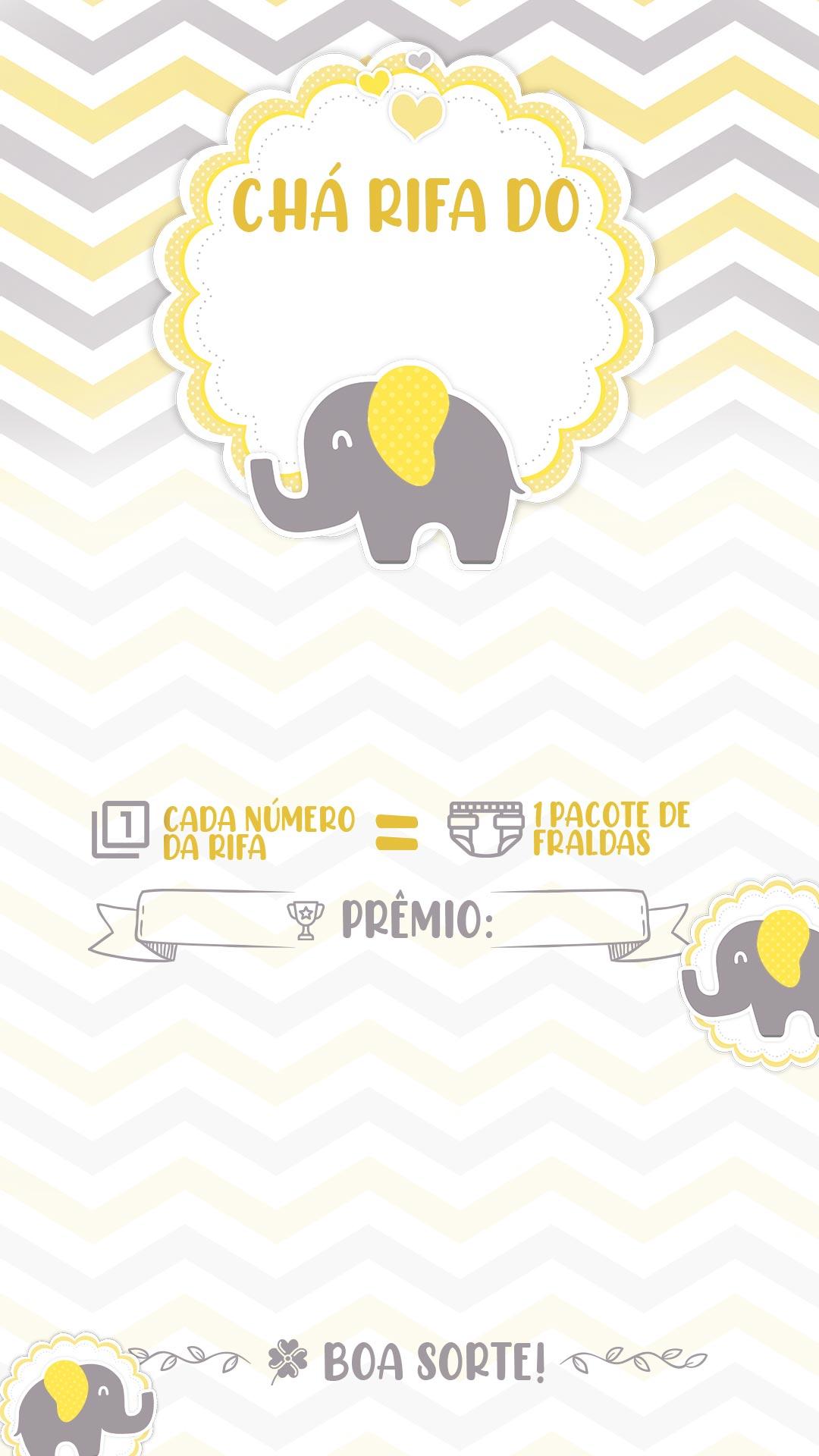 Convite Rifa Elefantinho Amarelo
