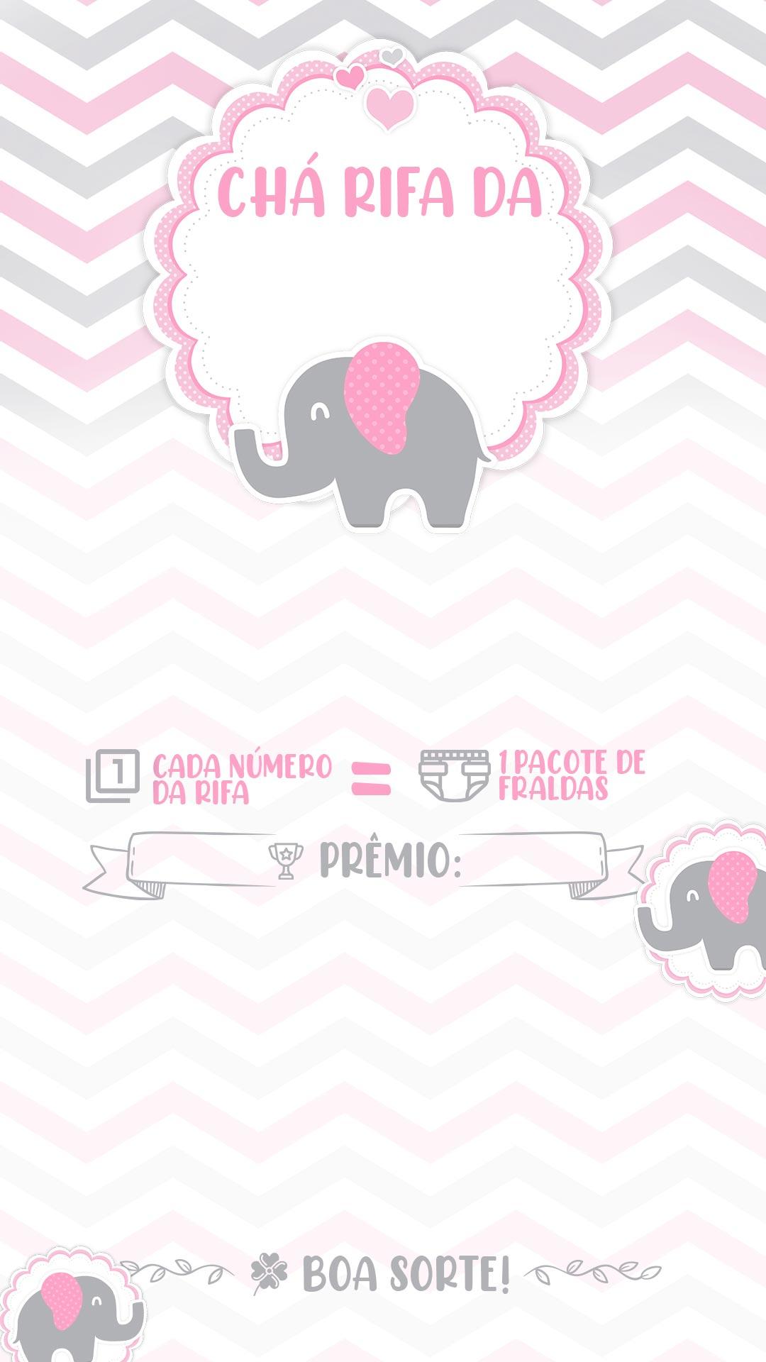 Convite Rifa Elefantinho rosa 222