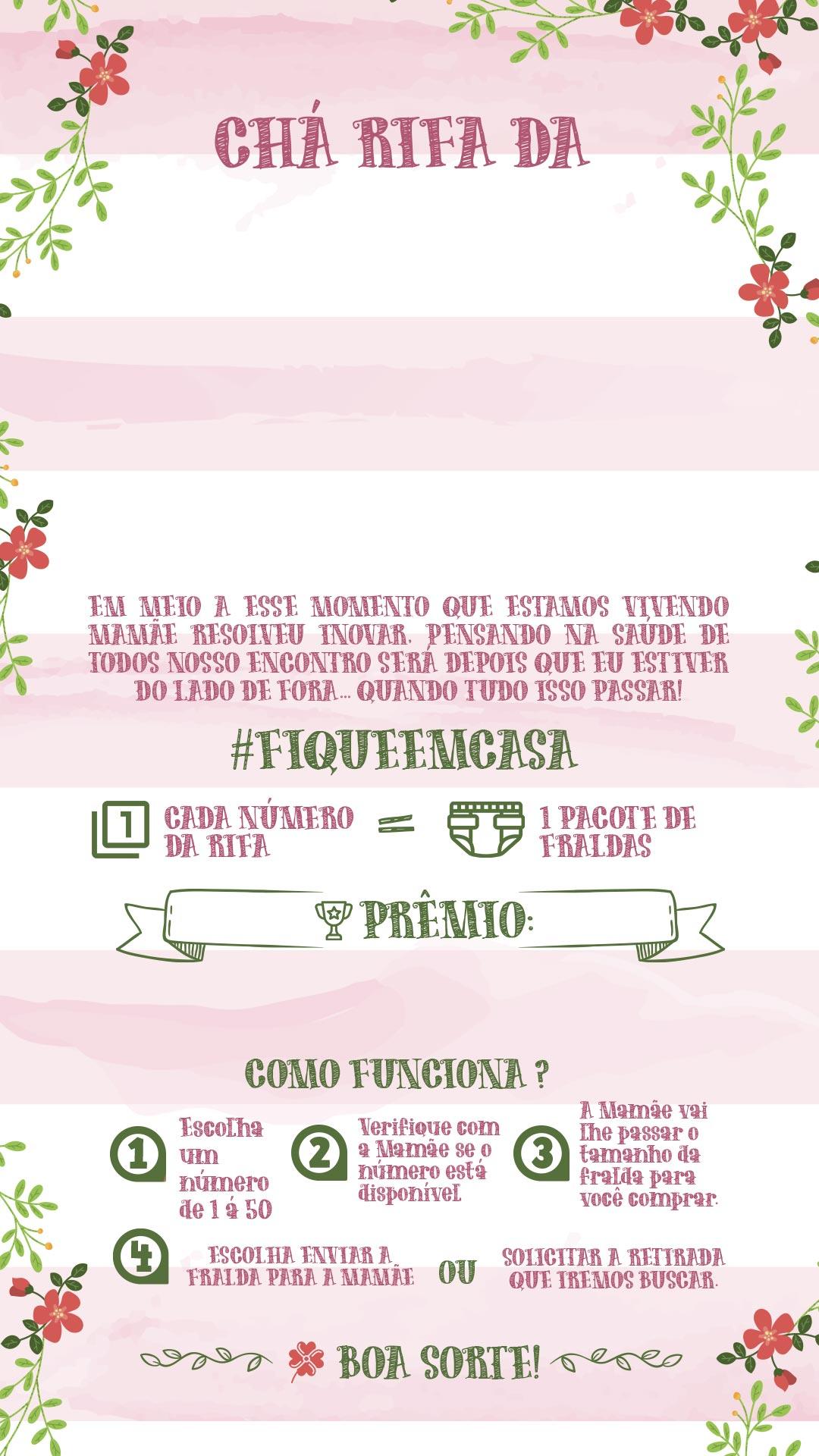 Convite Rifa Florzinhas Rosa 2