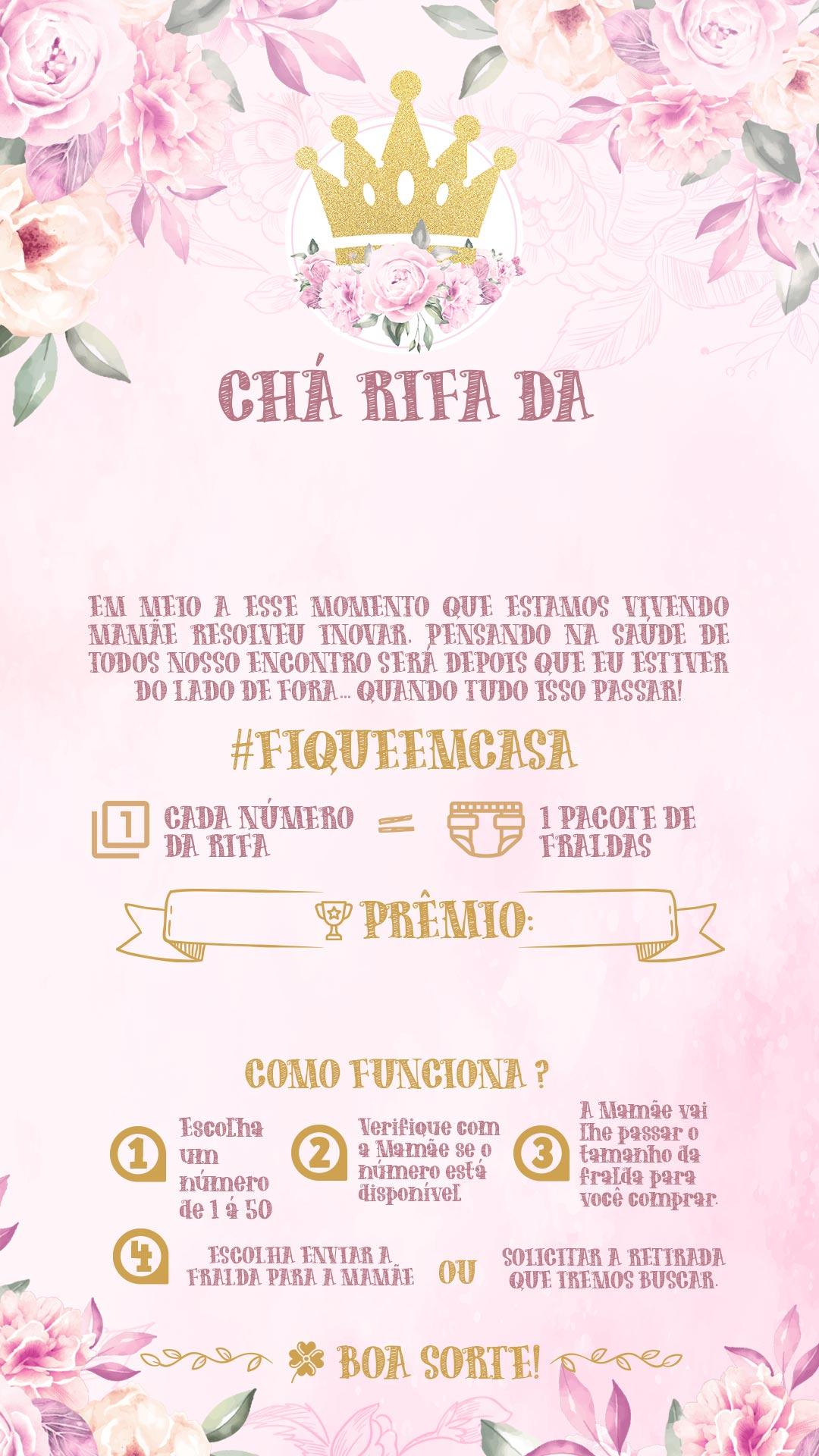 Convite Rifa Realeza Menina