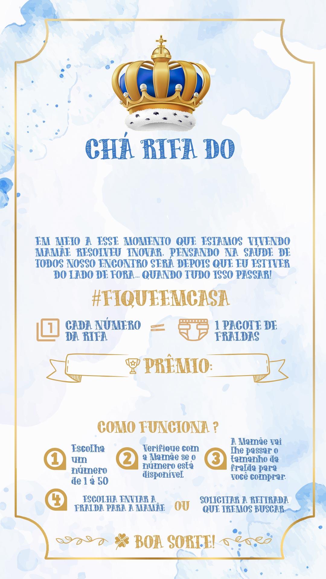 Convite Rifa Realeza Menino 2