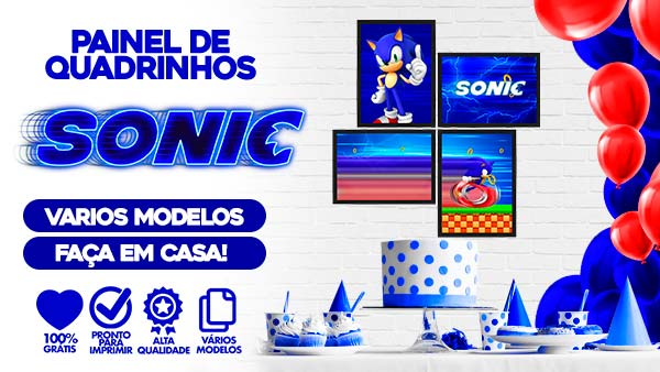 Kit Quadrinhos Festa Sonic gratis