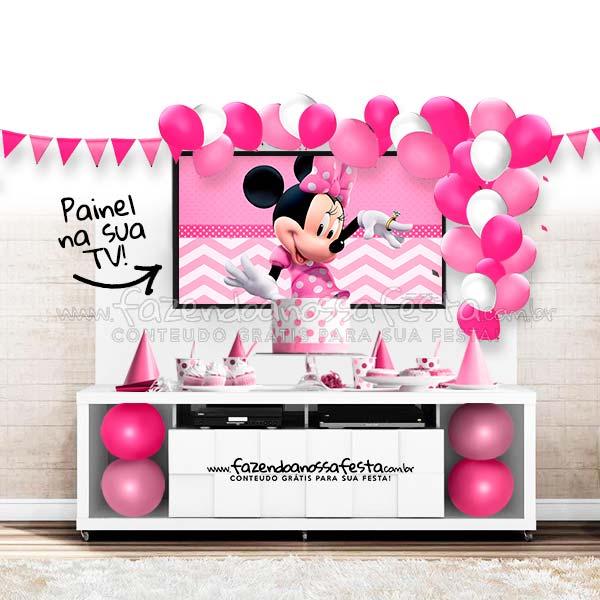 Modelo de festa no rack Tema Minnie Rosa