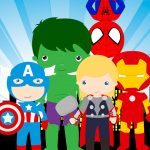 Painel na TV para aniversario tema Vingadores Cute