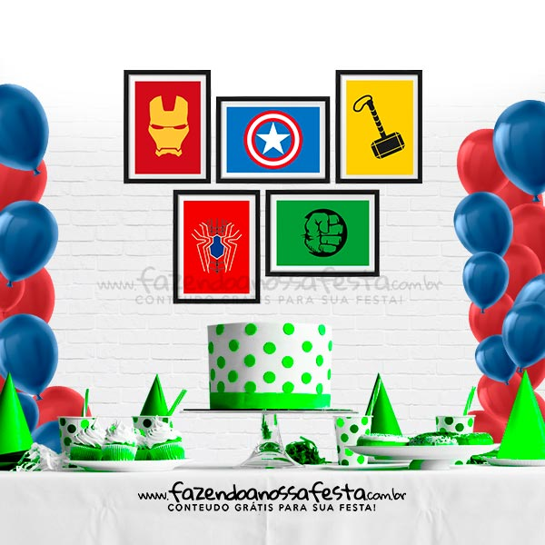 Quadrinho festa Vingadores para imprimir