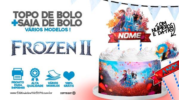 Topo de bolo Frozen 2 e Saia de bolo